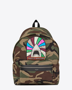"SAINT LAURENT Giant Backpacks U Giant CITY ""SWEET DREAMS"" Patch Backpack in Camouflage Cotton Gabardine and Black Leather f"