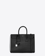 SAINT LAURENT Sac De Jour Small D classic small sac de jour bag nera in coccodrillo stampato f