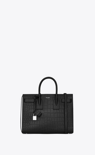 SAINT LAURENT Sac De Jour Small D classic small sac de jour bag in black crocodile embossed leather a_V4