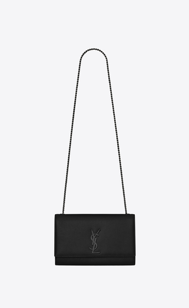 SAINT LAURENT MONOGRAM KATE D classic medium kate satchel in black grain de poudre textured leather a_V4