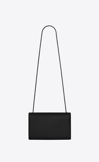 SAINT LAURENT MONOGRAM KATE Woman medium kate chain bag in black grain de poudre textured leather b_V4