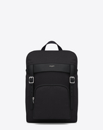 SAINT LAURENT Buckle Backpacks U hunting rucksack aus schwarzem canvas und leder f
