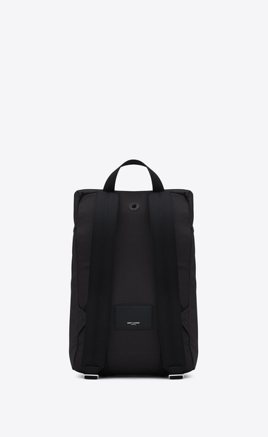 SAINT LAURENT Buckle Backpacks U hunting rucksack in black canvas and leather b_V4