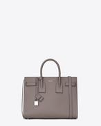 SAINT LAURENT Petit Sac De Jour D petit sac de jour en cuir grainé gris clair f
