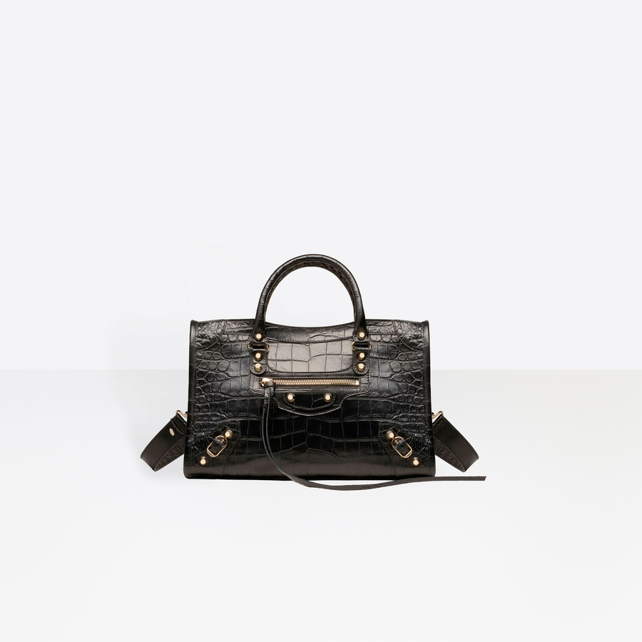 BALENCIAGA Croc-effect City S Giant Croc Print Handbags D f