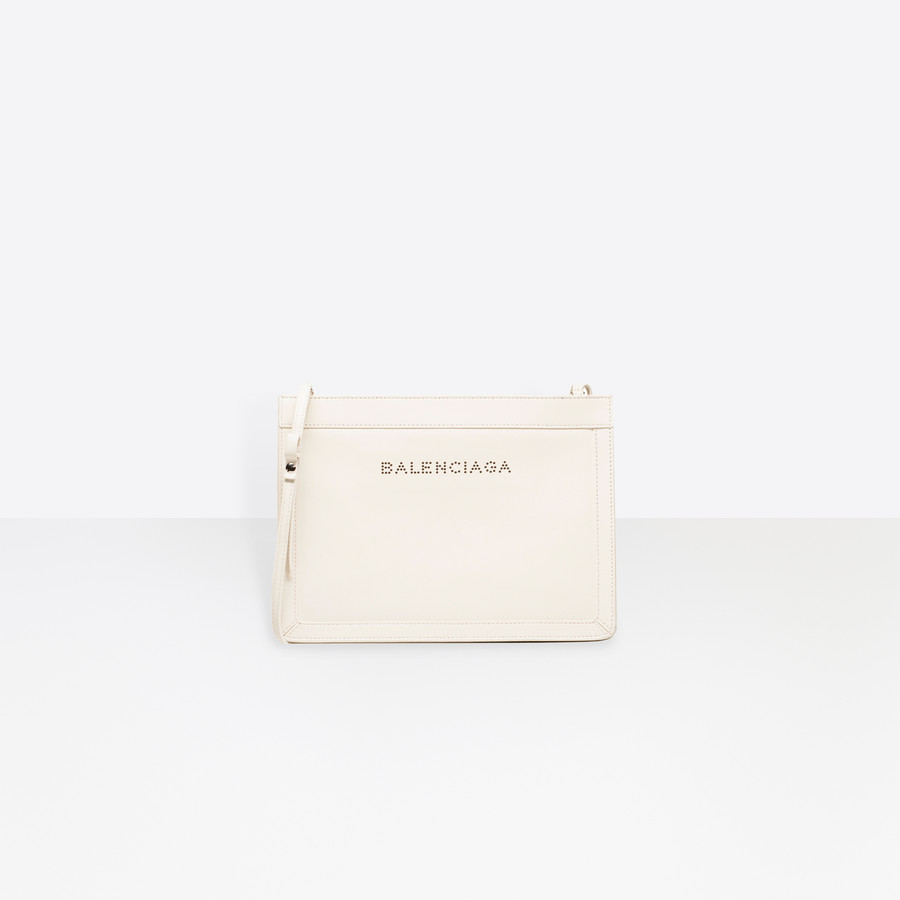 BALENCIAGA Leather Navy Clutch Navy Handbag D f
