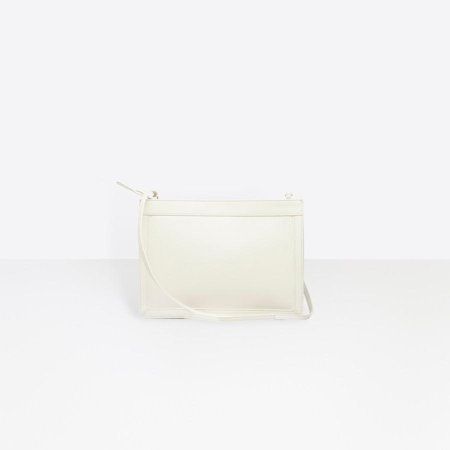 BALENCIAGA Leather Navy Clutch Navy Handbag D d