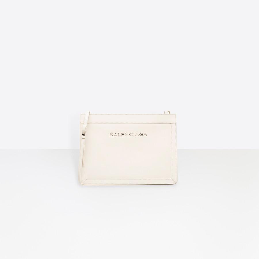 BALENCIAGA Leather Navy Clutch Navy Handbag D f