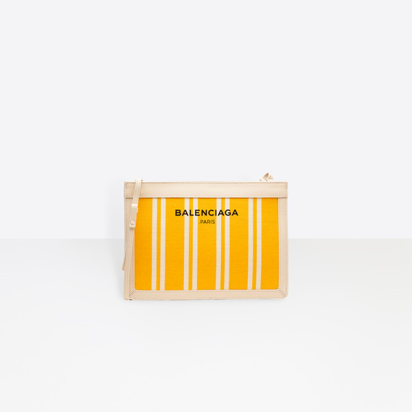 Marineblau gestreifte Canvas Clutch