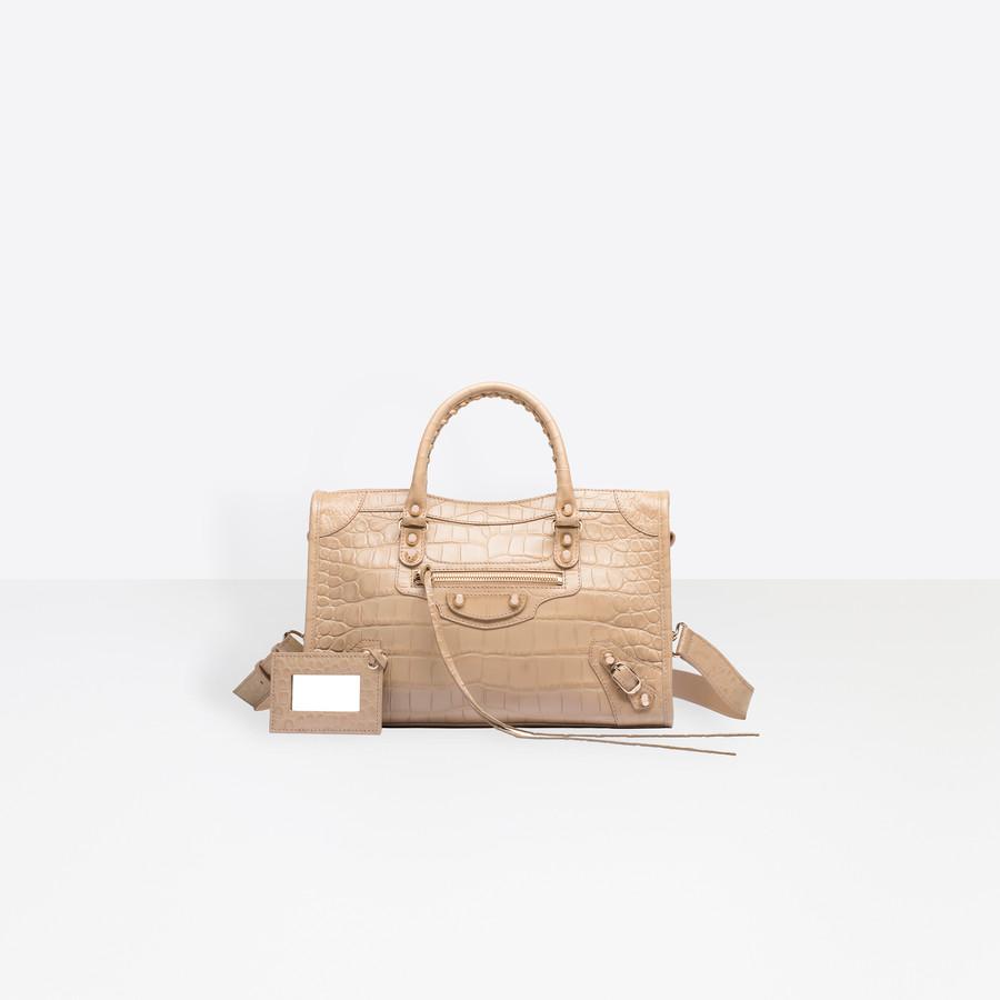 BALENCIAGA Croc-effect City S Giant Croc Print Handbags D f
