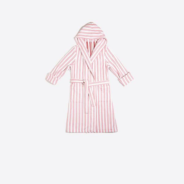 Striped Hoody Robe Coat