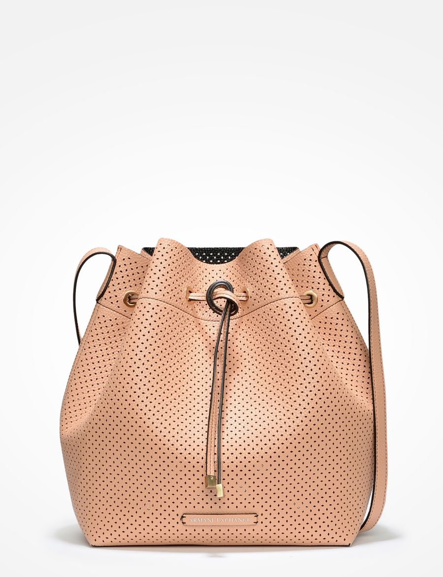 armani exchange perforated bucket bag satchel bag for