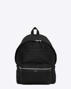 SAINT LAURENT Backpack U classic city backpack in black crocodile embossed leather f