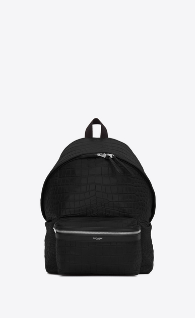SAINT LAURENT Backpack U classic city backpack in black crocodile embossed leather a_V4