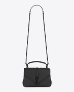 SAINT LAURENT Monogram College D classic medium collège bag in black matelassé leather f