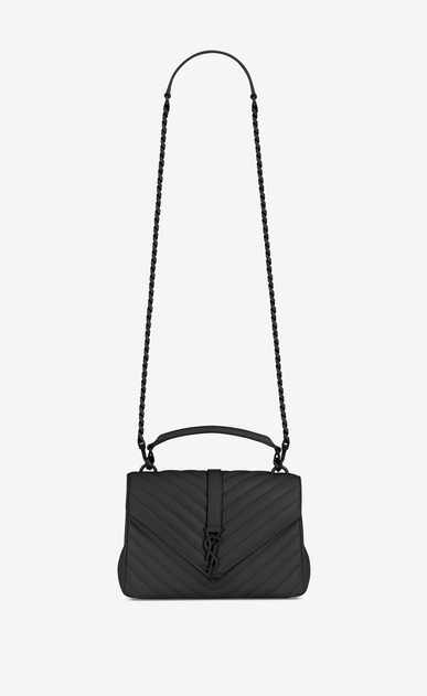SAINT LAURENT Monogram College D classic medium collège bag in black matelassé leather a_V4
