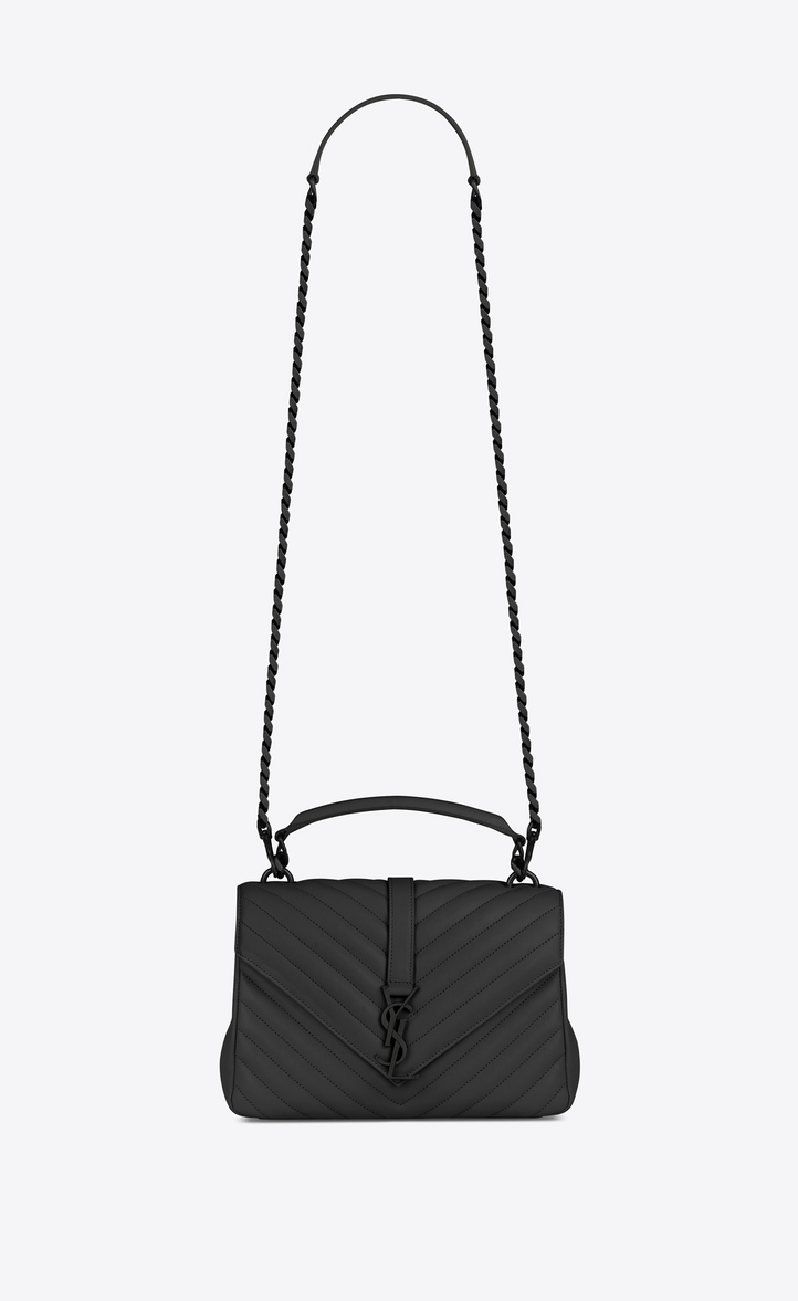 f0c381f94883 Saint Laurent Medium Collège Bag In Black Matelassé Leather ...