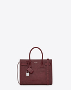 SAINT LAURENT Baby Sac de Jour D classic baby sac de jour bag in dark magenta crocodile embossed leather f