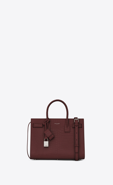 SAINT LAURENT Baby Sac de Jour D classic baby sac de jour bag in dark magenta crocodile embossed leather a_V4