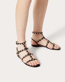 Rockstud Calfskin Ankle Strap Flat Sandal