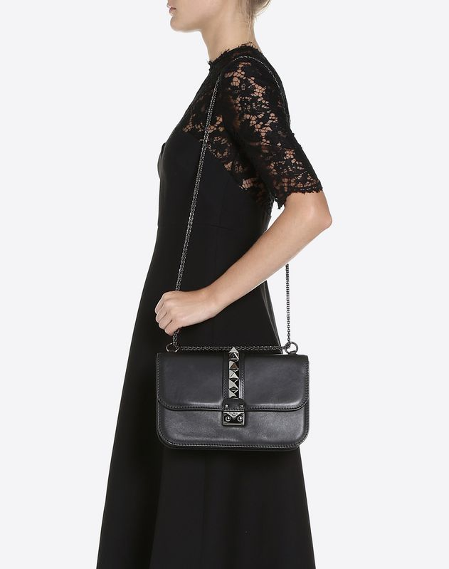 a7db32856b8 Medium Noir Lock Shoulder Bag for Woman | Valentino Online Boutique