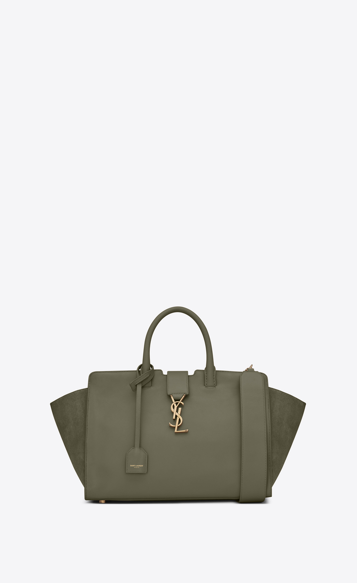 1a5e2a795f83 Saint Laurent Small Downtown Cabas Bag In Military Khaki Leather ...