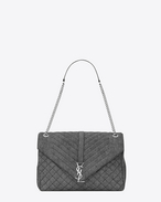 SAINT LAURENT Monogram envelope Bag D Grand sac soft enveloppe MONOGRAMME SAINT LAURENT mix matelassé gris délavé f