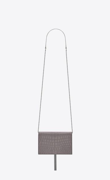 SAINT LAURENT MONOGRAM KATE WITH TASSEL D portafogli kate monogram tassel con catena color grigio nebbia in coccodrillo stampato b_V4