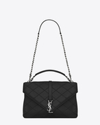 SAINT LAURENT Monogram College diamond D classic large collège bag nera in pelle matelassé Diamond f