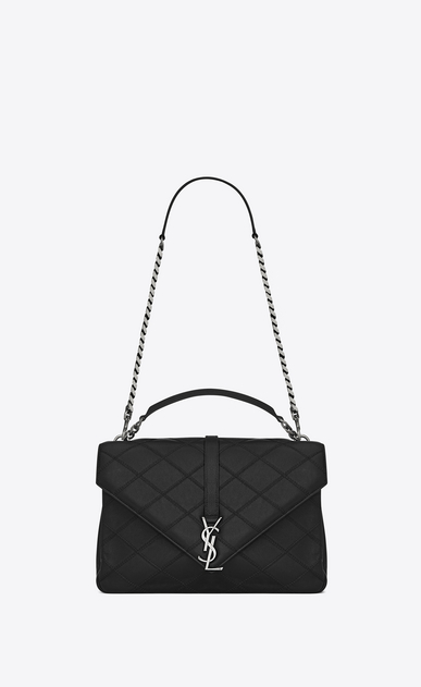 SAINT LAURENT Monogram College diamond D classic large collège bag in black Diamond Matelassé Leather a_V4