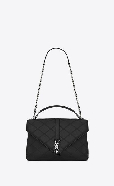 SAINT LAURENT Monogram College diamond D classic large collège bag nera in pelle matelassé Diamond v4