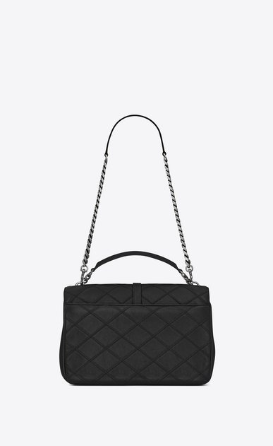 SAINT LAURENT Monogram College diamond D classic large collège bag in black Diamond Matelassé Leather b_V4