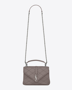 SAINT LAURENT Monogram College diamond D classic medium collège bag in fog Diamond Matelassé Leather f