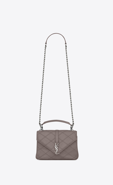 SAINT LAURENT Monogram College diamond D medium collège bag in fog Diamond Matelassé Leather a_V4