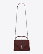 SAINT LAURENT Monogram College diamond D medium collège bag in dark red Diamond Matelassé Leather f