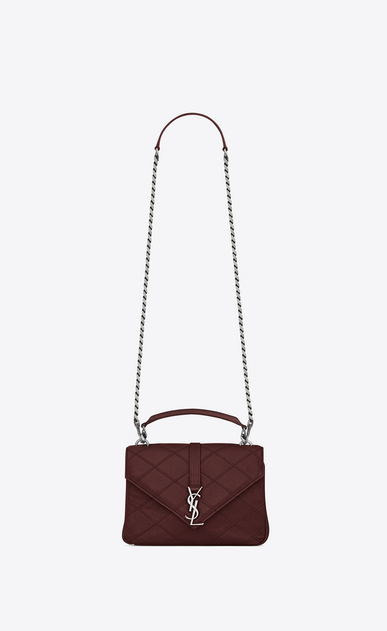 SAINT LAURENT Monogram College diamond D medium collège bag in dark red Diamond Matelassé Leather a_V4
