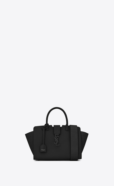 SAINT LAURENT MONOGRAMME TOTE D baby downtown cabas ysl bag in black leather and crocodile embossed leather v4