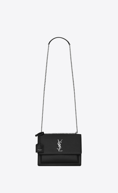 SAINT LAURENT Sunset Woman medium sunset bag in black leather a_V4