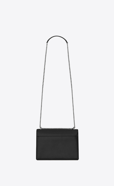 SAINT LAURENT Sunset Woman medium sunset bag in black leather b_V4