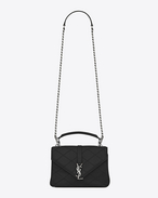 SAINT LAURENT Monogram College diamond D medium collège bag in black Diamond Matelassé Leather f