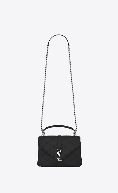 SAINT LAURENT Monogram College diamond D medium collège bag in black Diamond Matelassé Leather a_V4