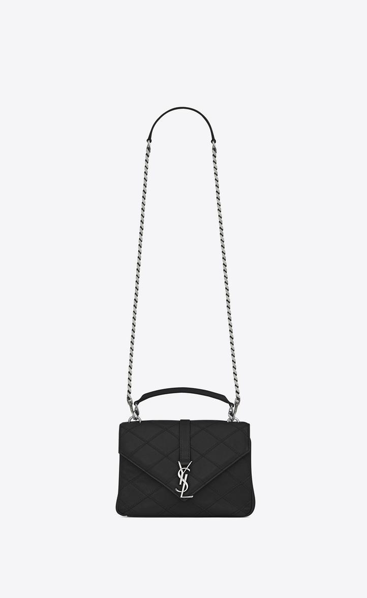 Saint Laurent Medium Collège Bag In Black Diamond Matelassé ... 707d973750ee7