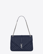 SAINT LAURENT Monogram envelope Bag D large soft envelope monogram navy blu in pelle mista matelassé f