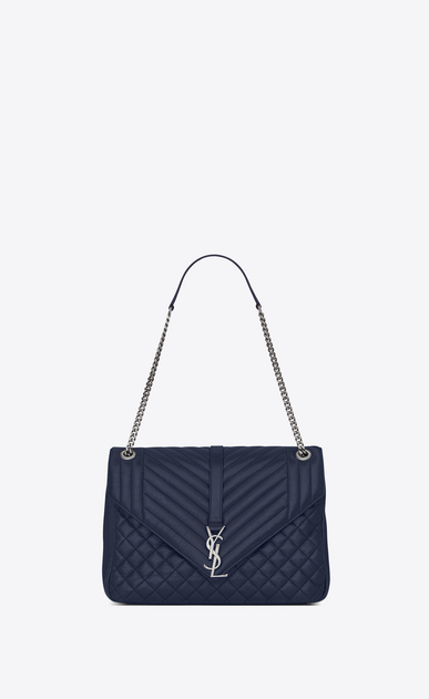 SAINT LAURENT Monogram envelope Bag D large soft envelope monogram in navy blue mixed matelassé leather a_V4