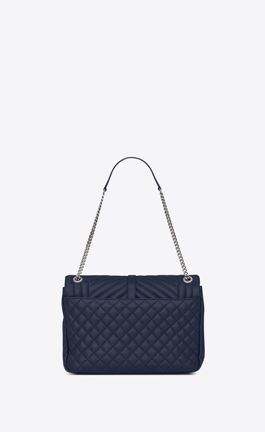 SAINT LAURENT Monogram envelope Bag D large soft envelope monogram in navy blue mixed matelassé leather b_V4