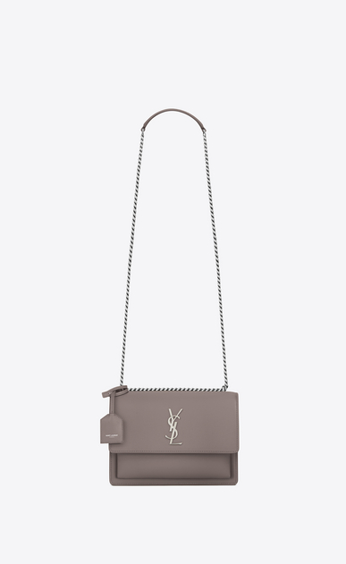 SAINT LAURENT Sunset Femme sac medium sunset monogramme en cuir gris brouillard a_V4
