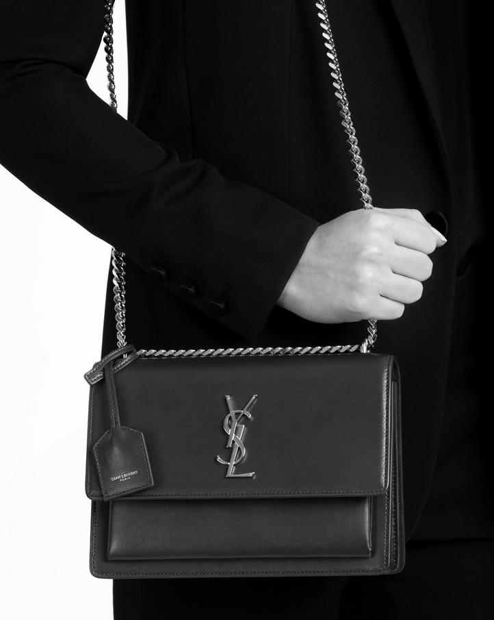Saint Laurent Medium Sunset Bag In Fog Leather  57fe15f4def09