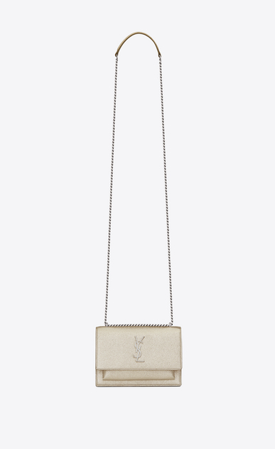 SAINT LAURENT Mini sacs Sunset Femme portefeuille à chaîne sunset en cuir or pâle a_V4