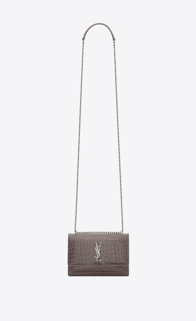 SAINT LAURENT Sunset D sunset chain wallet in fog crocodile embossed leather a_V4
