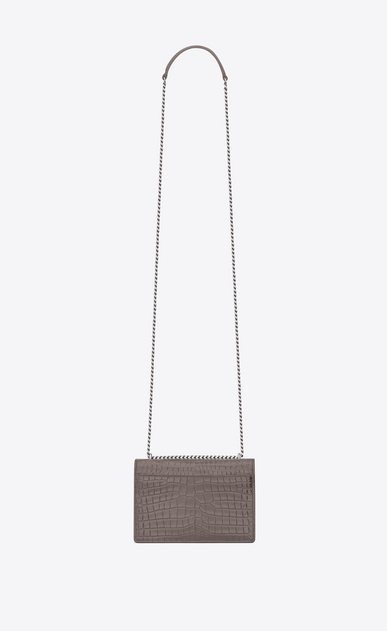 SAINT LAURENT Mini bags sunset Donna portafogli sunset con catena color grigio nebbia in coccodrillo stampato b_V4